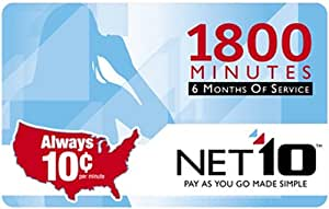 NET10 Refill Card - 1,800 Minute Airtime Card / 180 Days Access