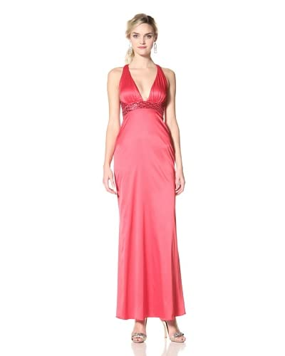 Jessica Simpson Women's Barberry V-Neck Beaded Halter Dress  - Barberry