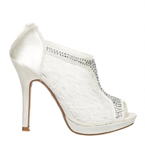 Wedding & Bridesmaid Shoes Lace High Heel Rhinestone Peep Toe Shootie YAEL-9