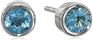 Sterling Silver 4mm Round Swiss Blue Topaz Bezel Set Stud Earrings