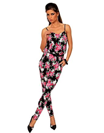 damen overall jumpsuit overall mit blumen muster elegant bequeme 11370 34 bekleidung. Black Bedroom Furniture Sets. Home Design Ideas
