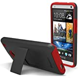 GreatShield Legacy Series Ultra Slim Fit Dual Layer Hybrid Case with Kickstand & Screen Protector for HTC One / M7 (Black & Red)