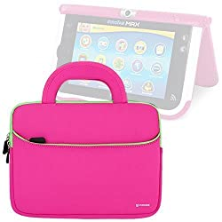 Evecase Vtech Innotab MAX / Little Apps Tablet Sleeve, Ultra Portable Handle Carrying Portfolio Neoprene Sleeve Case Bag for Vtech Innotab MAX 7'' Android Kids Learning Tablet - Hot Pink