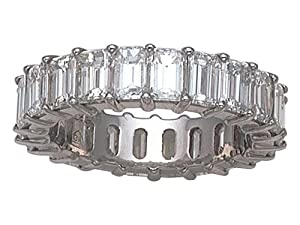 Karina B(tm) Emerald Cut Diamonds Eternity Band in Platinum 950 Size 5.5