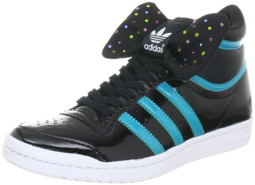 adidas Originals TOP TEN HI SLEEK BOW W G61360, Damen Sportive Sneakers, Schwarz (BLACK 1 / LAB GREEN F12 / WHITE), EU 40 (UK 6.5)