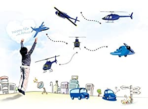 OneHouse Blue Planes Helicopters Cars DIY Vinyl Wall Decal Sticker Home Decor from OneHouse