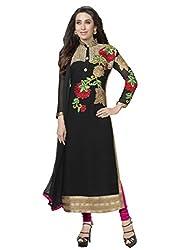 Prenea Women's Black Georgette Unstitched salwar suit