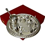 JaipurCrafts Decorative Elegant Brass Pooja & Thali Set (7 Pieces, Silver)