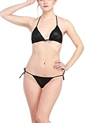 Glus Leather Feel Halter String Bikini Honeymoon Sleepwear Lingerie Set ,Size-Free