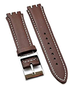 Fit Swatch SWC103 Leather Watch Strap 17mm Brown Similar