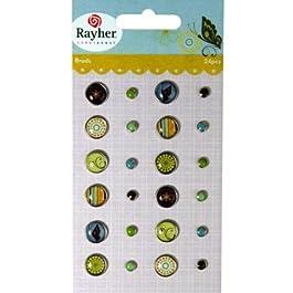 RAYHER - 7935100 - Tachuelas: Butterfly, varios diseños, gr., {2} diámetro 0.5-1cm, tarjeta 24 pcs, SB-diseño tarjeta.{1}