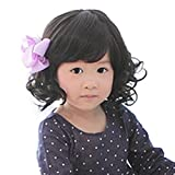 Rise World Wig New Fashion Black Curly Wigs for Kids Child Bangs Heat Friendly Cosplay Wig