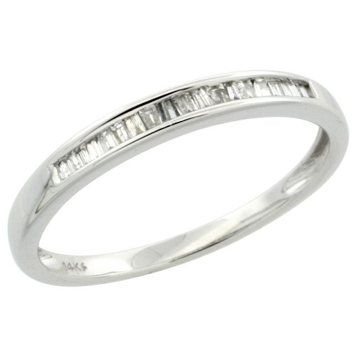 14k White Gold Ladies' Diamond Ring Band, w/ 0.12 Carat Baguette & Brilliant Cut Diamonds, 1/8
