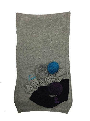 Sciarpa Cotone e Angora BRACCIALINI con applicazioni 175x25cm Made in Italy (grigio)