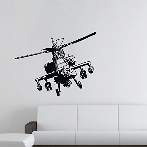 """Colorfulhall 23.6"""" X 32.3"""" Black War Aeroplanes Army Helicopter Plane Wall Decal Wall Stikcer Removable Vinyl Wall Decor Bedroom Kids Childrens Room Decoration front-393375"""