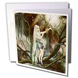 Dream Essence Designs Fantasy A magical elf who finds an enchanted fruit in a mystic cave Greeting Cards 12 Greeting Cards with envelopes
