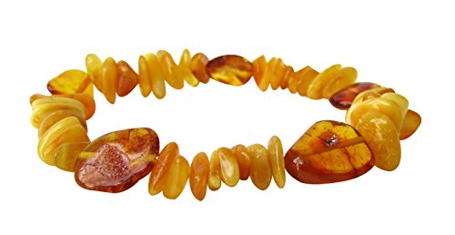Baltic Amber Adult Stretchable Bracelet Anklet Unisex ABB26 Mix Butterscotch and Honey Colour 19cm Polished Chips Beads By Amber Corner