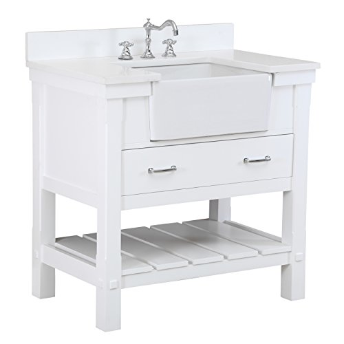 Charlotte 36-inch Bathroom Vanity (Quartz/White): Includes a White Quartz Countertop, White Cabinet with Soft Close Drawers, and White Ceramic Farmhouse Apron Sink (White Quartz Countertop compare prices)