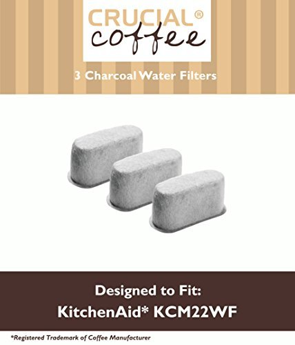 3 Premium KitchenAid Charcoal Coffee Filters, Fit KCM222 & KCM223 Water Filter Pod & Coffee Makers, Compare to Part # KCM22WF, by Think Crucial