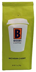 BIGGBY Michigan Cherry Ground Coffee, 12-Ounce Bags (Pack of 3)