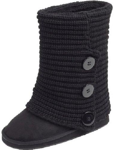 womens rib knit sweater crochet boots 9 black