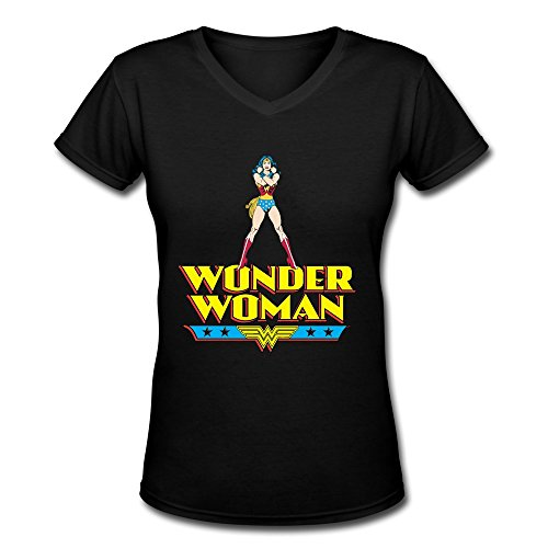 AOPO Wonder Woman WW LOGO V-Neck Short Sleeve Tee Shirts For Women