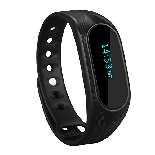CUBOT Wireless Activity Wristband, Smart Fitness Tracker with a Pedometer, Step Counter, Distance Counter, Sleep Monitor, Black