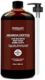 Arabica Coffee Shampoo and Body Wash, 100% Pure & Natural Ingredients, Anti Hair Loss Prevention, Restore Hair Growth, Great for All Hair & Skin Types, Paraben Free, 8 Fl. Oz.