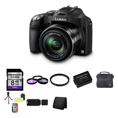 Panasonic Lumix DMC-FZ70 Digital Camera + 8GB SDHC Memory Card + USB SDHC Memory Card Reader + UV FILTER 55MM + CC UV, Florescent, Polarizer Filter Kit (Protect Your Lens!) + Weather Resistant Carrying Case w/Strap + Memory Card Wallet + Two Rechargeable Lithium Ion Replacement Battery (Panasonic Lumix Dmc Fz70 Battery compare prices)