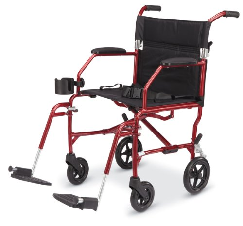 Light 14.8 lbs Medline Freedom Transport Wheelchair 300 lb Cap Chair- BURGUNDY