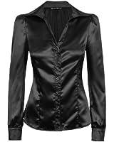 Laeticia Dreams Damen V-Ausschnitt Glanz Bluse Langarm Hemd Satin S M L XL XXL