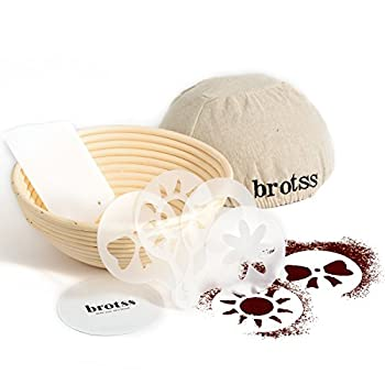 brotss Banneton Proofing Basket Round 8,66 Inch, Bundle with 4 Artisan Bread Stencils + Cloth Liner + Dough Scraper & Cutter + eBook - Artisan Rattan Brotform Set