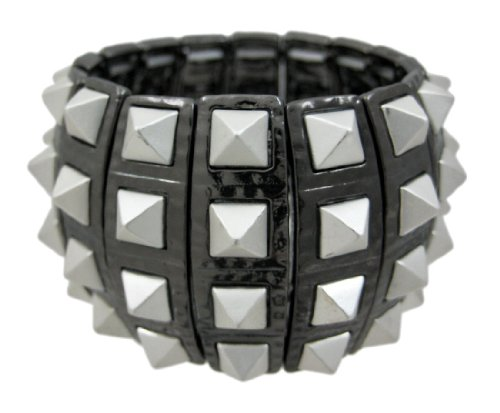 Two Tone Pyramid Spike Stretch Bangle Bracelet Studs