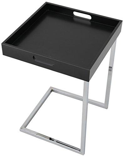 Ciano Design Beistelltisch Tablett-Tisch schwarz chrom 40 x 40 cm