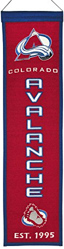 "NHL Hockey Colorado Avalanche - 8""x32"" Heavy Wool with Embroidery Sport Team Logo Heritage Banner. Frame Dimensions 15.5""x41"" Deluxe Double Matted with Brown Wood Frame #4007"