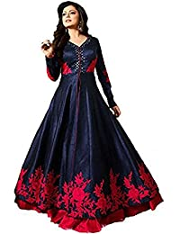 AnK New Collection Women's Banglori Silk Blue & Pink Long Anarkali Style Semi Stitched Salwar Suit With Dupatta