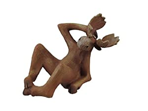 Funny Wooden Look Moose Wine Bottle Holder