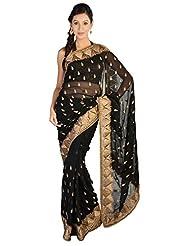 LiVi Chiffon Embellished Saree With Zari Buti & Border For Women