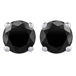Black Round Brilliant Cut Diamond Earring Studs in 14K White Gold (1 cttw)