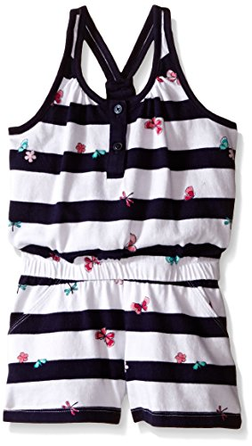 Gymboree Big Girls Navy White Stripe Romper with Butterfly, Multi, 10