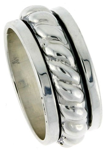 Sterling Silver Men s Spinner Ring Heavy Rope Center Handmade 7 16 WideB0006GC6FK