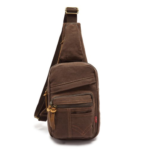 Ecocity Men'S Canvas Cross Body Chest Pack Chest Bag (Coffee) front-1035664