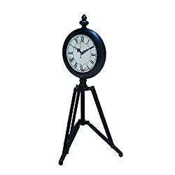 Benzara Metal Tripod Clock with Tripod Stand