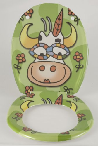 Wenko-17616100-Thermoset-Plastic-Toilet-Seat-Crazy-Cow