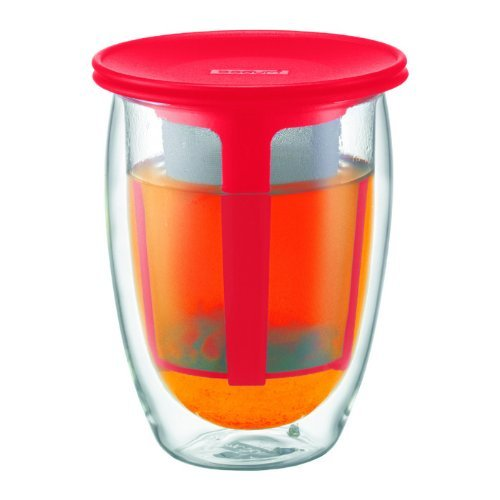 Bodum Tea For One Double 0.35-Liter Wall Glass Tea Strainer, 12-Ounce, Red (Bodum Teapot Red compare prices)