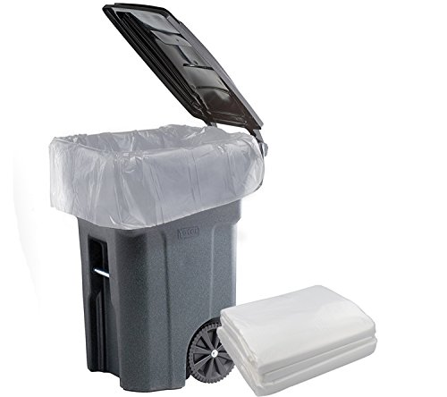 Cand 95 Gallon Trash Bags for Outdoor, Municipal, or Township Garbage Cans, Clear, 61