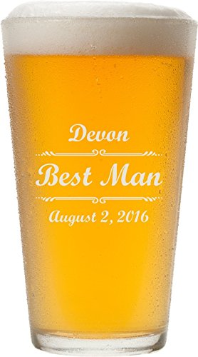 Personalized Pint Glasses,16 oz - Father's Day Gift, Anniversary Gift, Beer Lover's Gift for Him - PG02 (Monogram Beer Glasses compare prices)