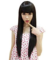 Taobaopit Casual Fashion Long Straight Neat Bangs Black Wigs For Women Hair Wigs by Gooaction