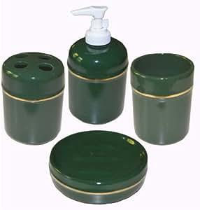 Amazon.com: Stoneware Bathroom Accessory Set of 4. (Tooth ...