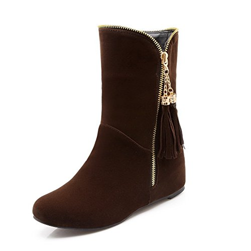 voguezone009-womens-low-heels-solid-round-closed-toe-frosted-zipper-boots-brown-38
